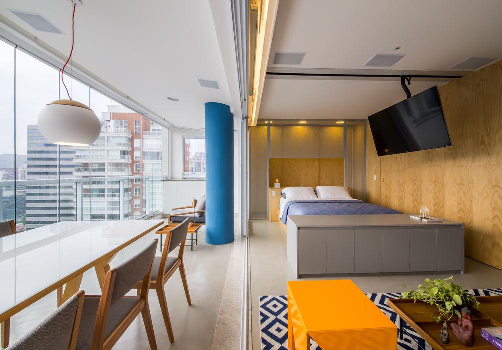 apto do pilar azul Casa100 Arquitetura Salas de estar modernas