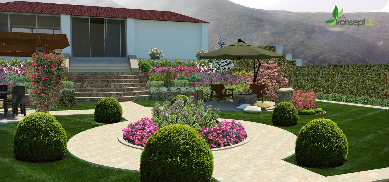 Orta bahçe konseptDE Peyzaj Fidancılık Tic. Ltd. Şti. Beyaz