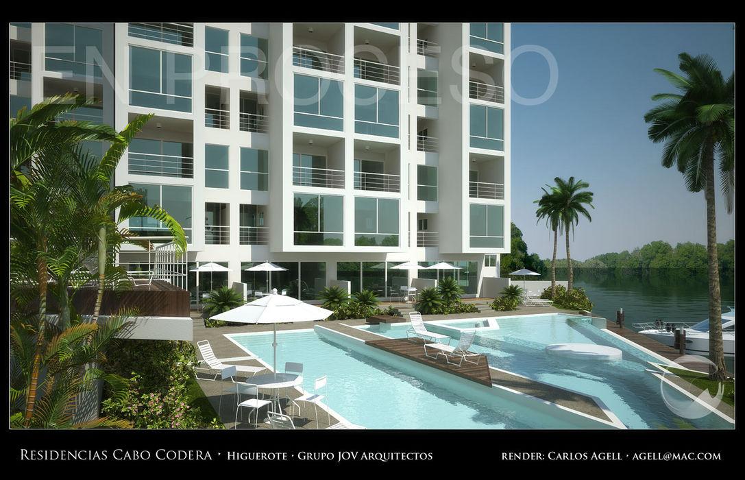 Imagenes 3D (Render) proyecto de Arquitectura: Residencias Cabo Codera. Grupo JOV Arquitectos Piscinas de estilo minimalista Mármol Blanco