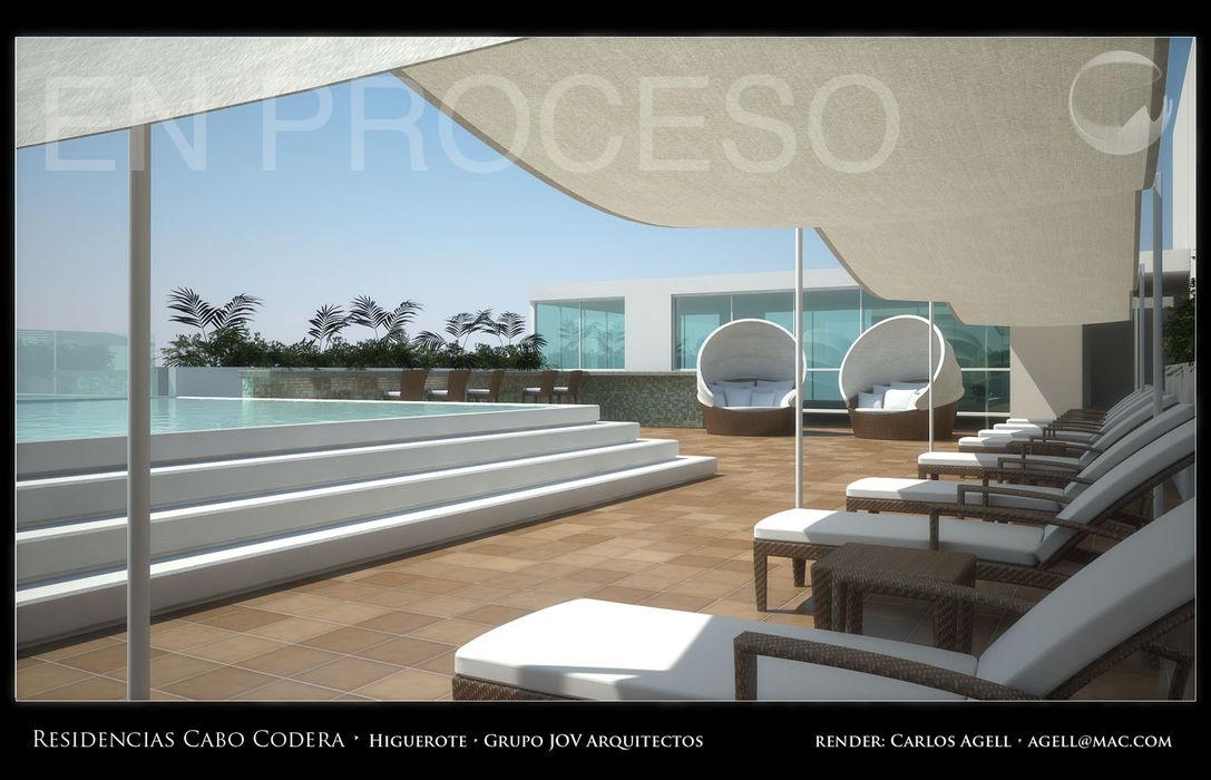 Imagenes 3D (Render) proyecto de Arquitectura: Residencias Cabo Codera. Grupo JOV Arquitectos Piscinas de estilo minimalista Piedra Gris