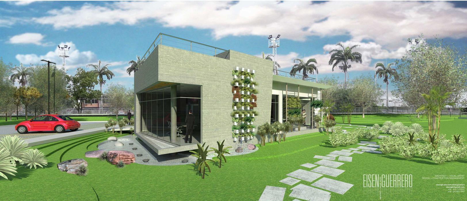 Vista Lateral Frontal Sur externa, Sala de inspiración. Oficina Experience Center. 2015 EISEN Arquitectura + Construccion Casas de estilo minimalista