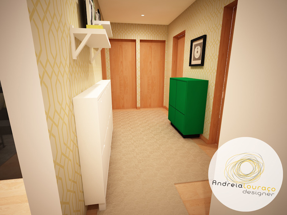 Projecto de Decoração - Hall de entrada Andreia Louraço - Designer de Interiores (Email: andreialouraco@gmail.com) Corredores, halls e escadas modernos Amarelo
