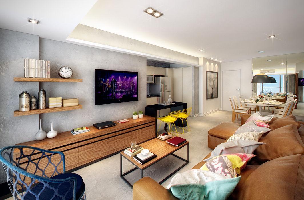 LEBLON   RESIDENCIAIS SESSO & DALANEZI Salas de estar modernas