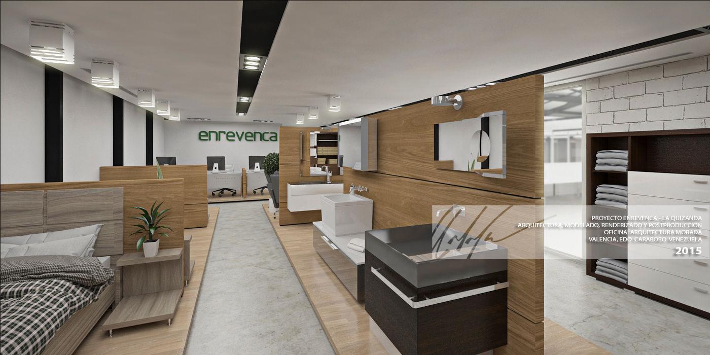 AREA DE EXHIBICION Arq.AngelMedina+ Oficinas y Tiendas Madera Marrón
