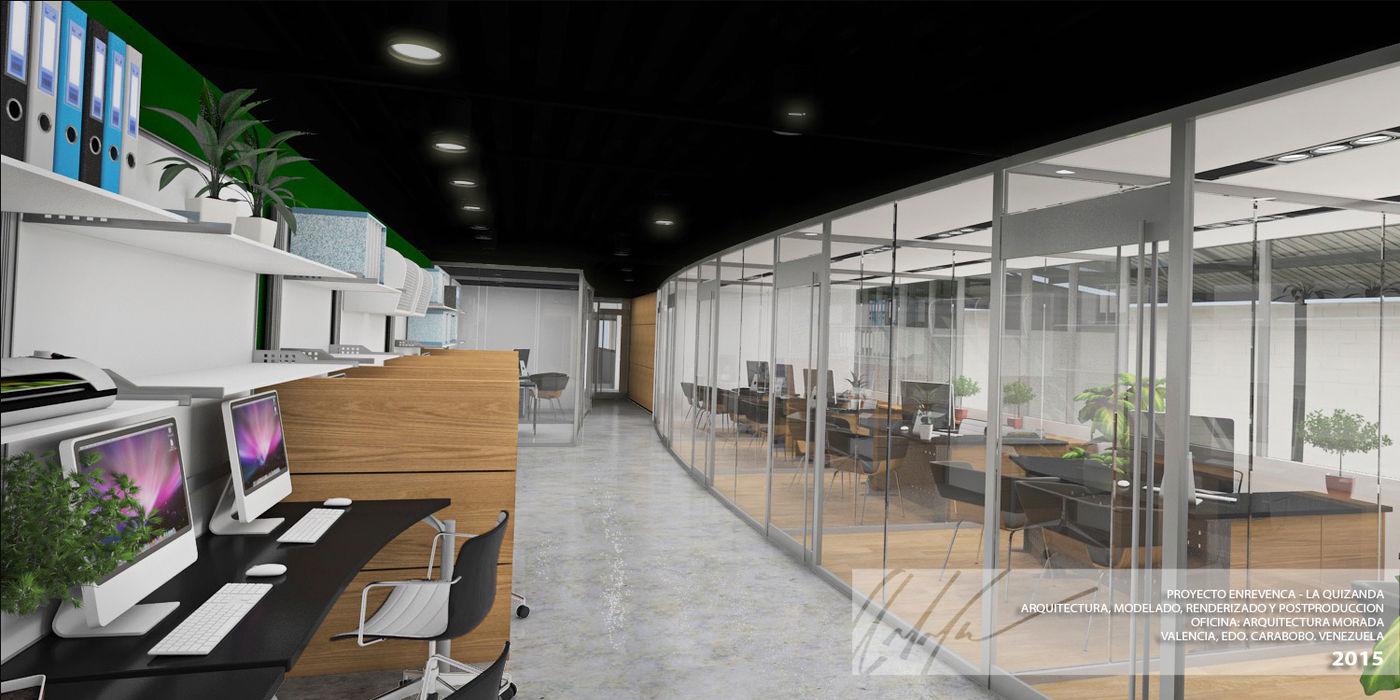 OFICINAS Arq.AngelMedina+ Oficinas y Tiendas Madera Blanco