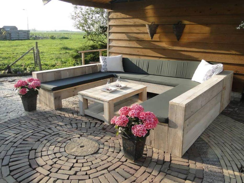 U-Loungebank aus Bauholz Exklusiv Dutch Design GartenMöbel