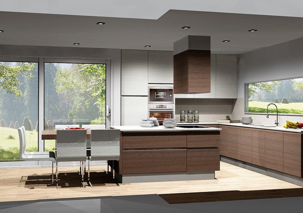 Cozinhas acolhedoras Amplitude - Mobiliário lda Cozinhas modernas Madeira Acabamento em madeira