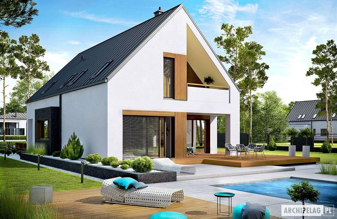 PROJEKT DOMU RIKO III G2 - pełna harmonia wnętrza z ogrodem! Pracownia Projektowa ARCHIPELAG Nowoczesne domy