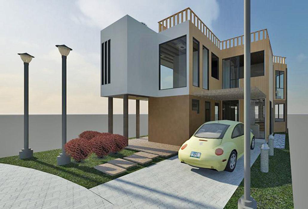 Vista fachada frontal Loft estudio C.A. Casas de estilo minimalista Madera Acabado en madera