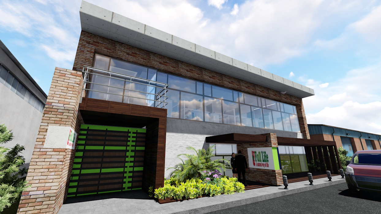 Proyecto para Laboratorio en Miami 02 Ghalmaca Arquitectura Garajes y galpones industriales Concreto reforzado Marrón
