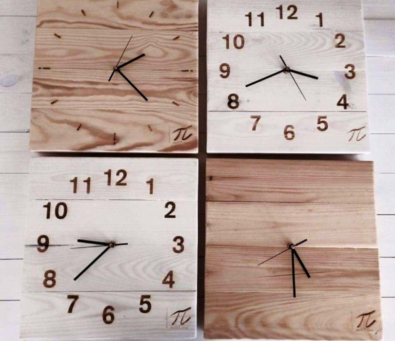 Zegar z palet Palletideas SypialniaAkcesoria i dekoracje Drewno O efekcie drewna