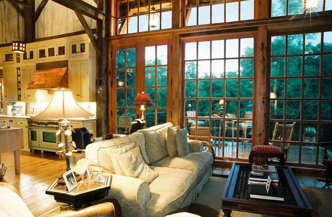 Luxury Barn Jeffrey Dungan Architects Living room Wood Beige