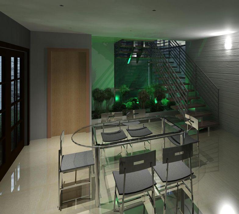 Vista del espacio del comedor y escalera, con iluminación Diseño Store Comedores de estilo minimalista
