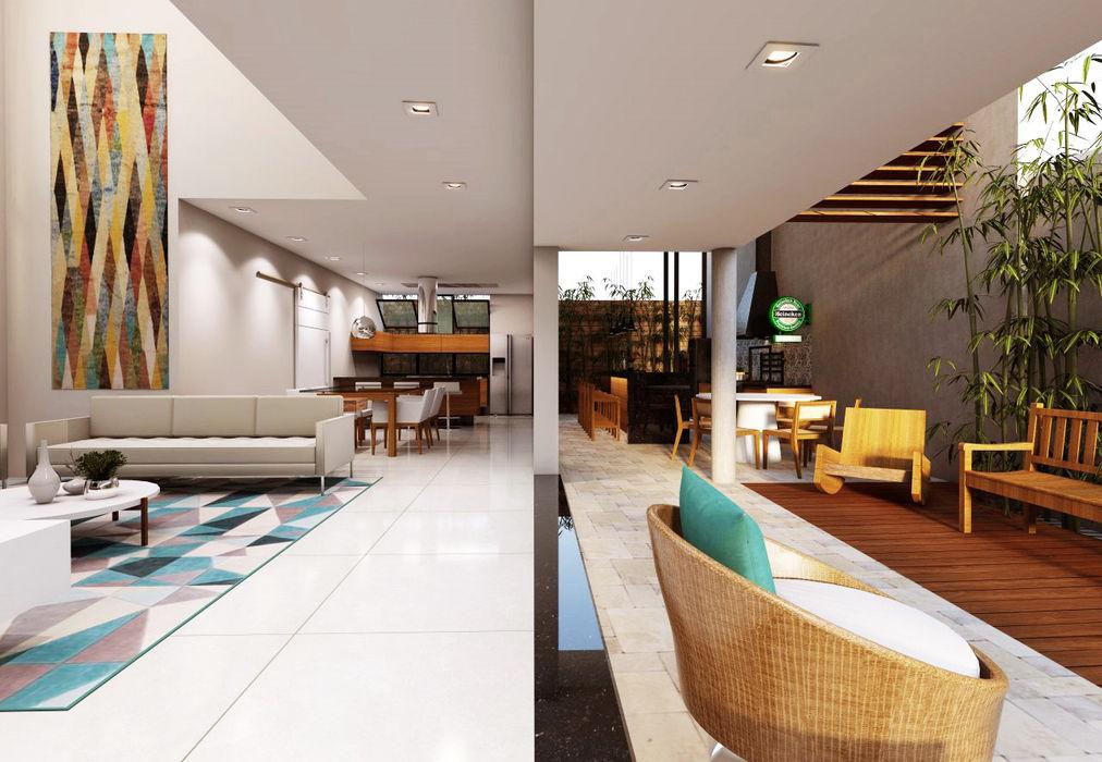 Casa BT Lozí - Projeto e Obra Salas de estar modernas