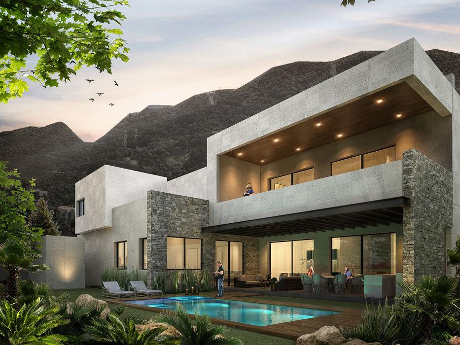 Rousseau Arquitectos Modern houses Stone Grey