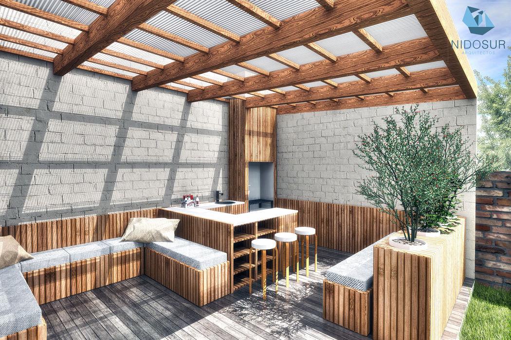 NidoSur Arquitectos - Valdivia 露臺 木頭 Wood effect