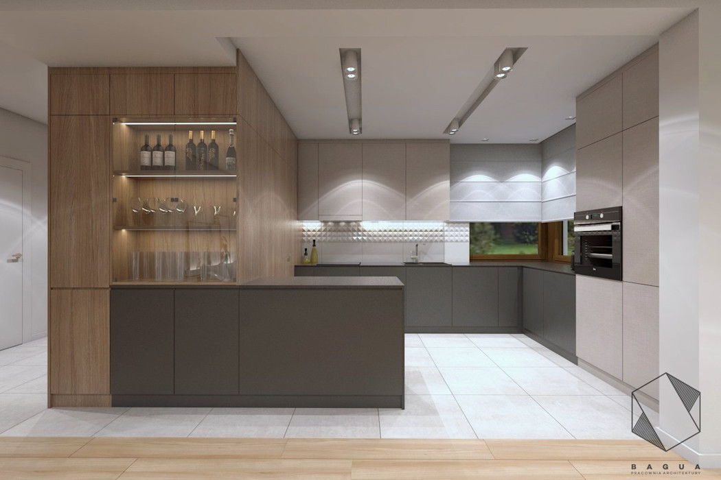 Projekt domu jednorodzinnego 12 BAGUA Pracownia Architektury Wnętrz Nowoczesna kuchnia