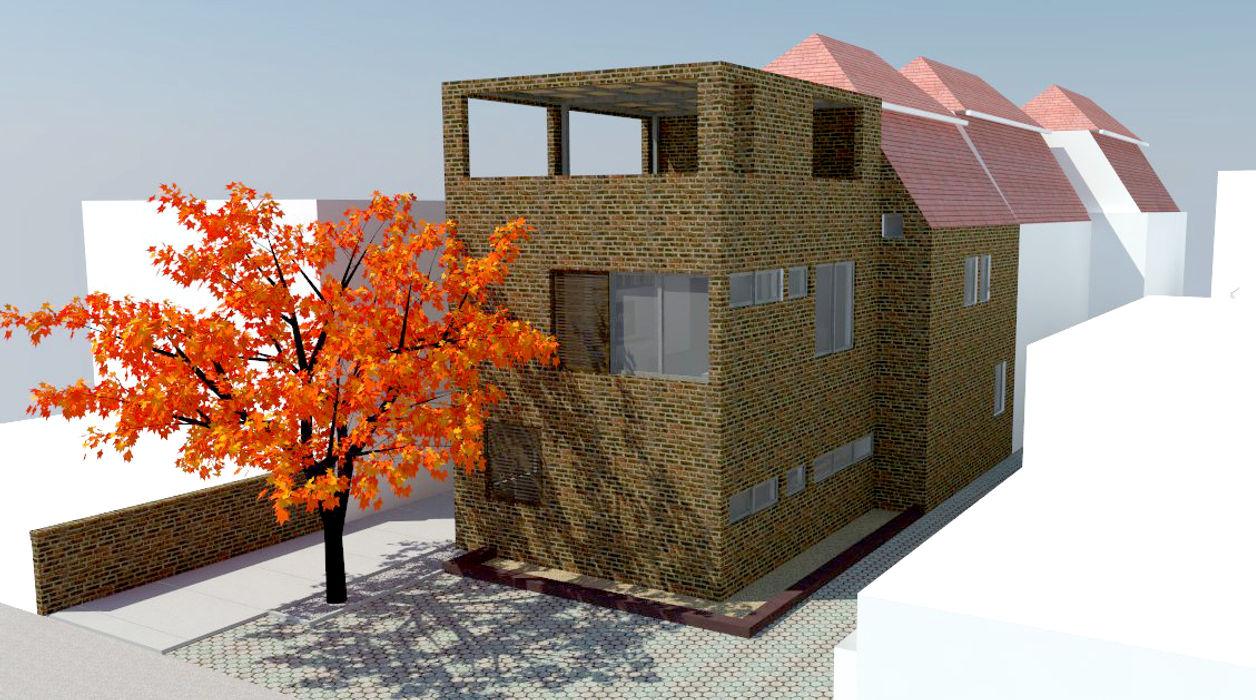 Vista exterior proyecto DIMA Arquitectura y Construcción Casas estilo moderno: ideas, arquitectura e imágenes