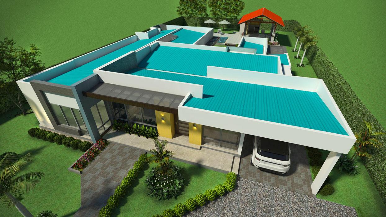 Perspectiva - vista general de la cubierta Arquitecto Pablo Restrepo Casas de estilo moderno