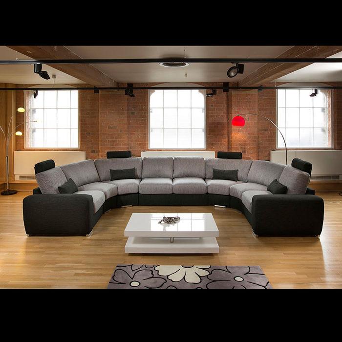 Massive Modern High Quality U Shape Sofa / Corner Group Black/Grey 25 Quatropi ltd SalonesSofás y sillones Gris