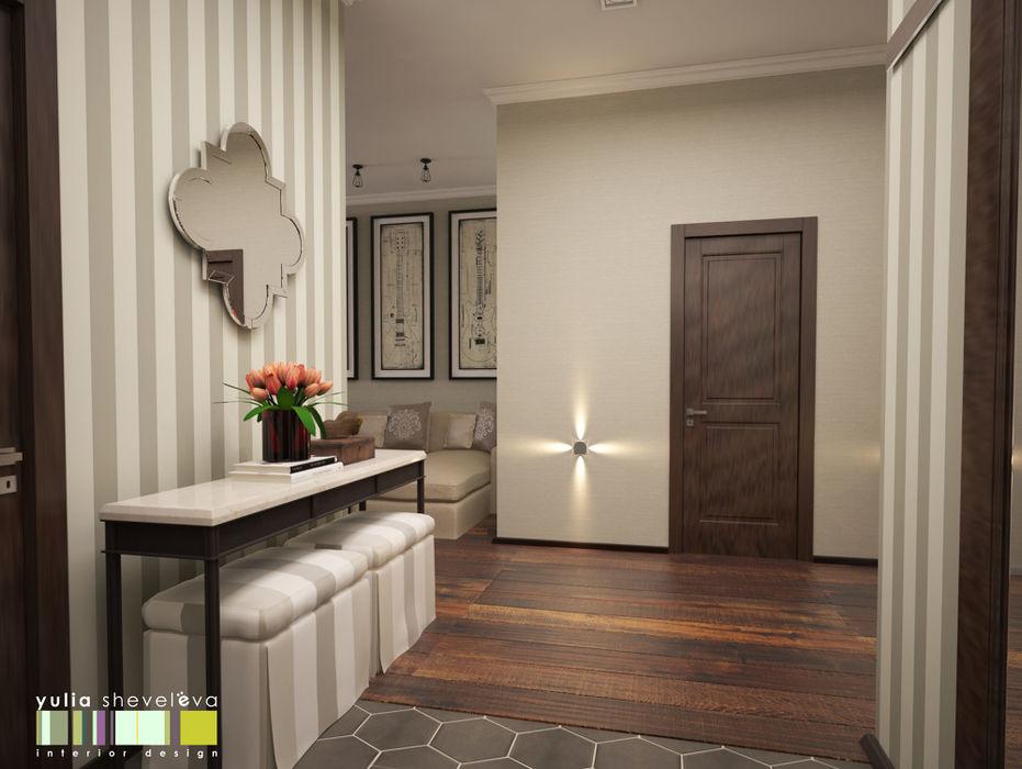 Мастерская интерьера Юлии Шевелевой Eclectic corridor, hallway & stairs