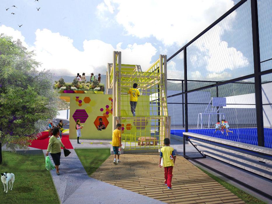 Area de juegos para niños Taller de Desarrollo Urbano Balcones y terrazas de estilo moderno