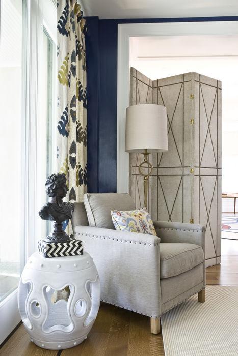 Lorna Gross Interior Design Eklektyczny salon Niebieski