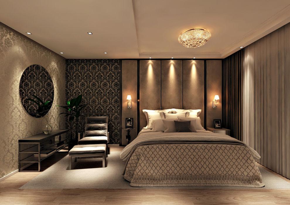 Flávia Kloss Arquitetura de Interiores Dormitorios modernos Tablero DM Ámbar/Dorado