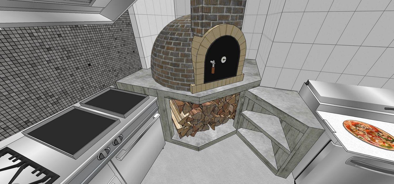 Área de preparación de pizzas y comida. Detalle del horno a la leña MARATEA estudio Restaurantes Ladrillos