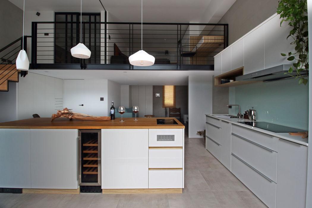 01 樂沐室內設計有限公司 廚房 塑木複合材料 White