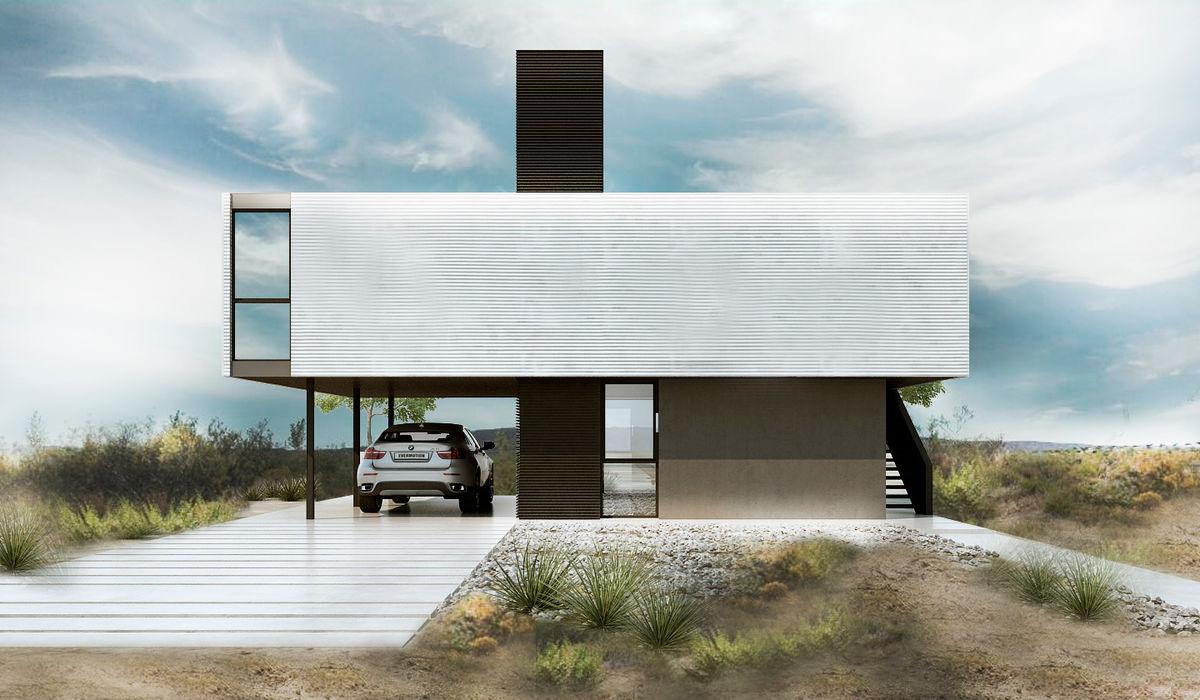 CASA M Proa Arquitectura Jardines minimalistas Metal Blanco