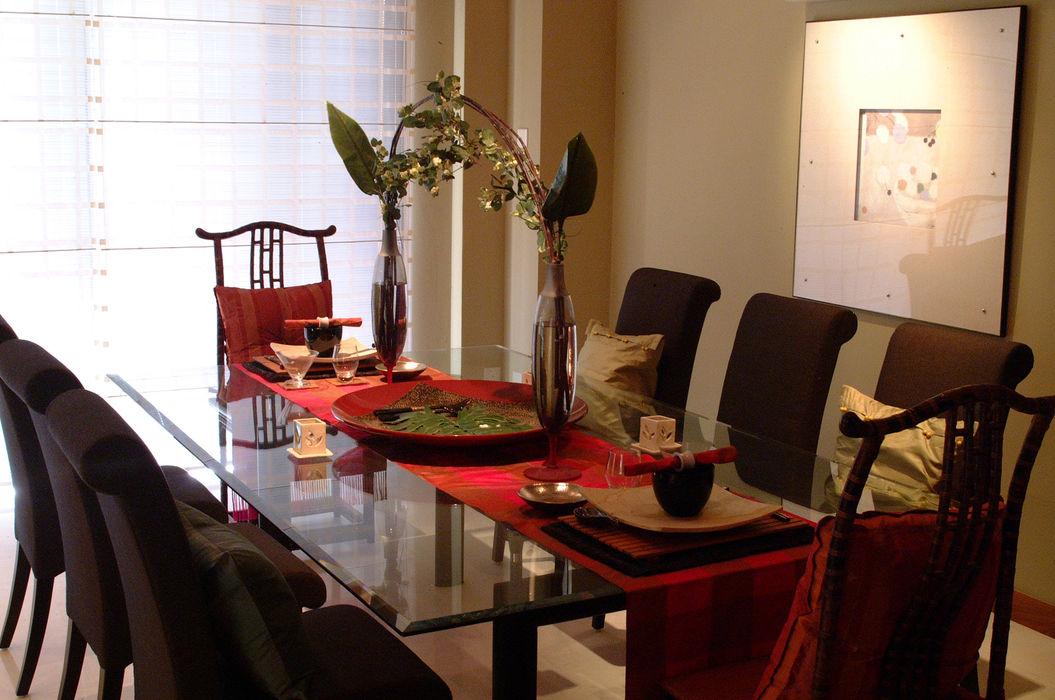 Dining Room E&U Ruang Olahraga Gaya Asia Batu Bata Beige