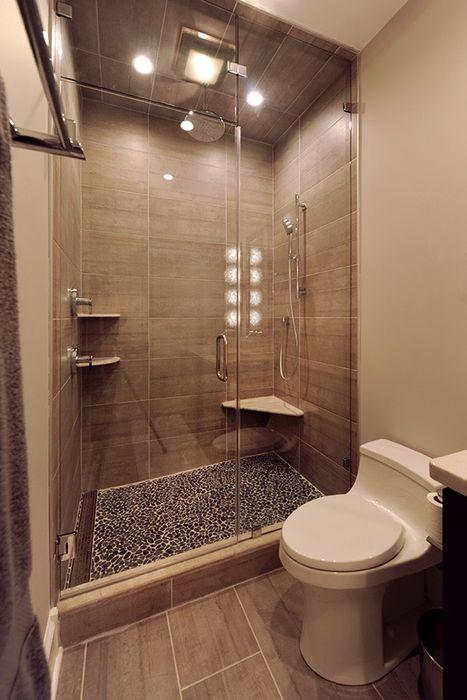 Modern Bathroom With Large Shower Olamar Interiors, LLC Modern bathroom Tiles Grey