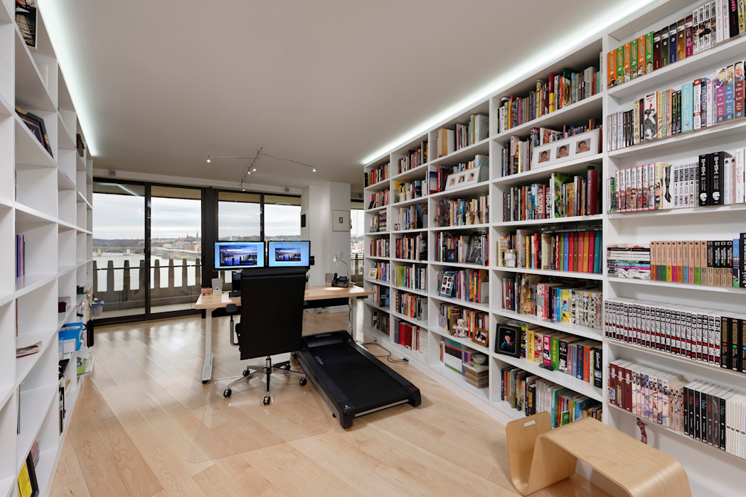 Contemporary Washington, DC Condominium Renovation BOWA - Design Build Experts Modern study/office