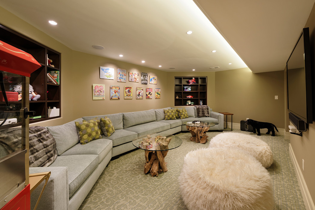 Fire Restoration in Chevy Chase Creates Opportunity for Whole House Renovation BOWA - Design Build Experts اتاق تفریحات رسانه ای