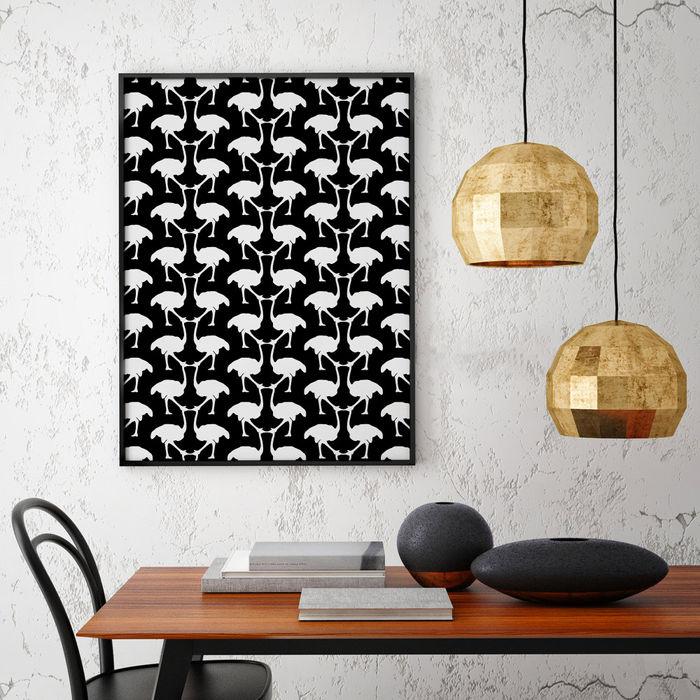 OSTRICH Wallpaper - Black homify Walls & flooringWallpaper Giấy Black