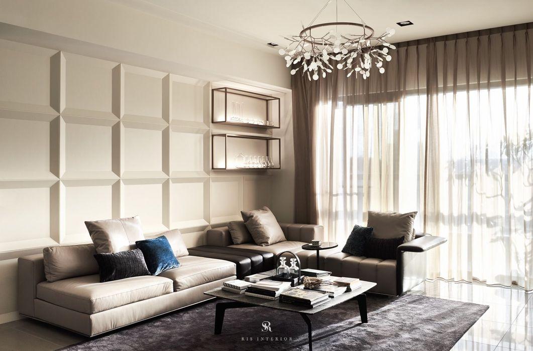 璀璨.脈脈 Van der Vein 理絲室內設計有限公司 Ris Interior Design Co., Ltd. 现代客厅設計點子、靈感 & 圖片 Amber/Gold