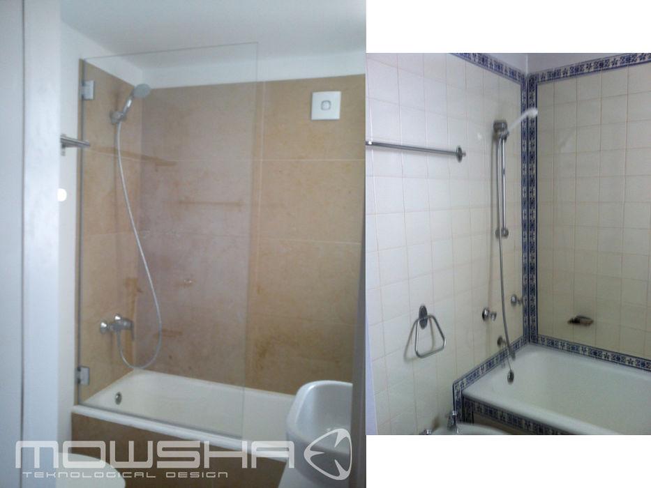 Casa de banho secundária com banheira. Manteve-se a banheira e a posição das peças Mowsha tek Design Lda
