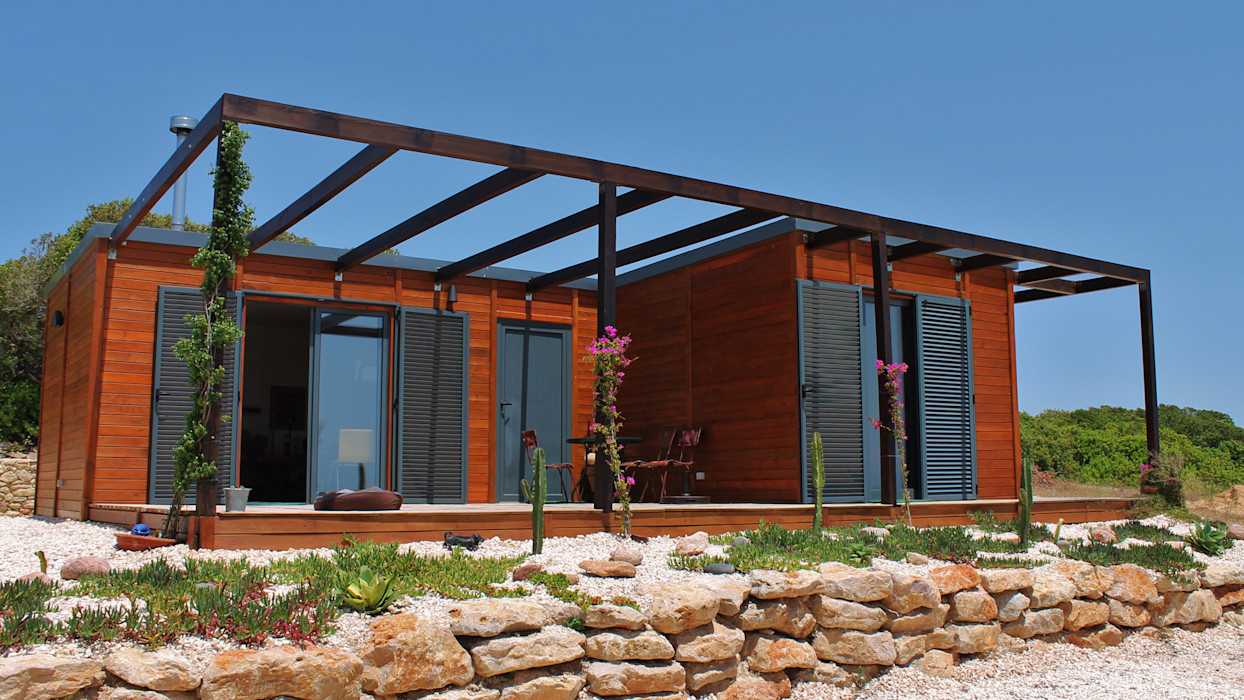 Modelo | T2 100m² Discovercasa | Casas de Madeira & Modulares Casas de madeira Madeira Castanho