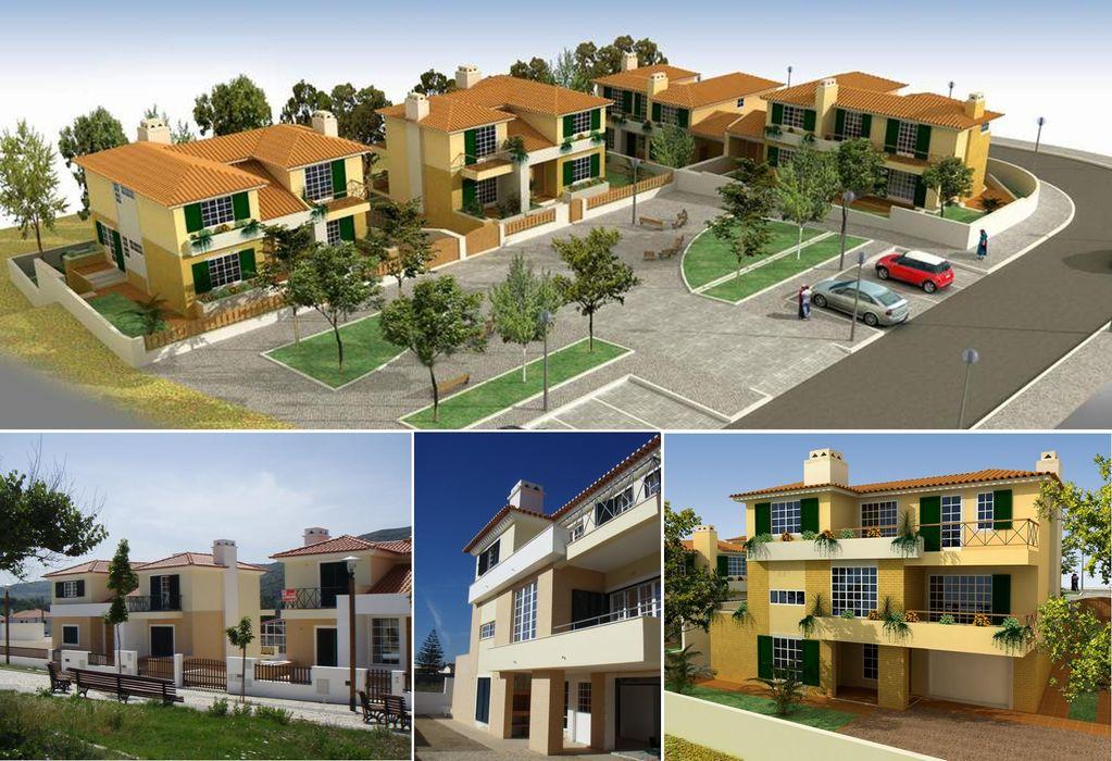 Moradias em Vila de Rei, Bucelas Pedro de Almeida Carvalho, Arquitecto, Lda Casas unifamilares Betão armado Bege