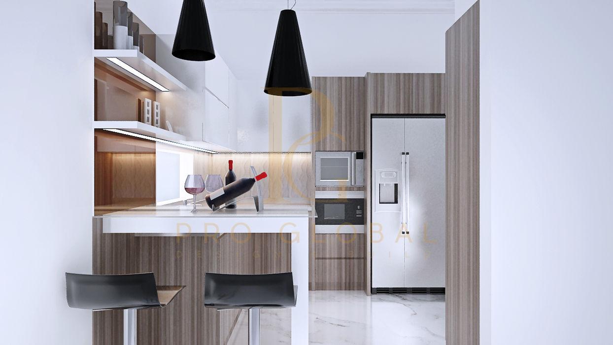 Kitchen Area homify KitchenCabinets & shelves Kayu