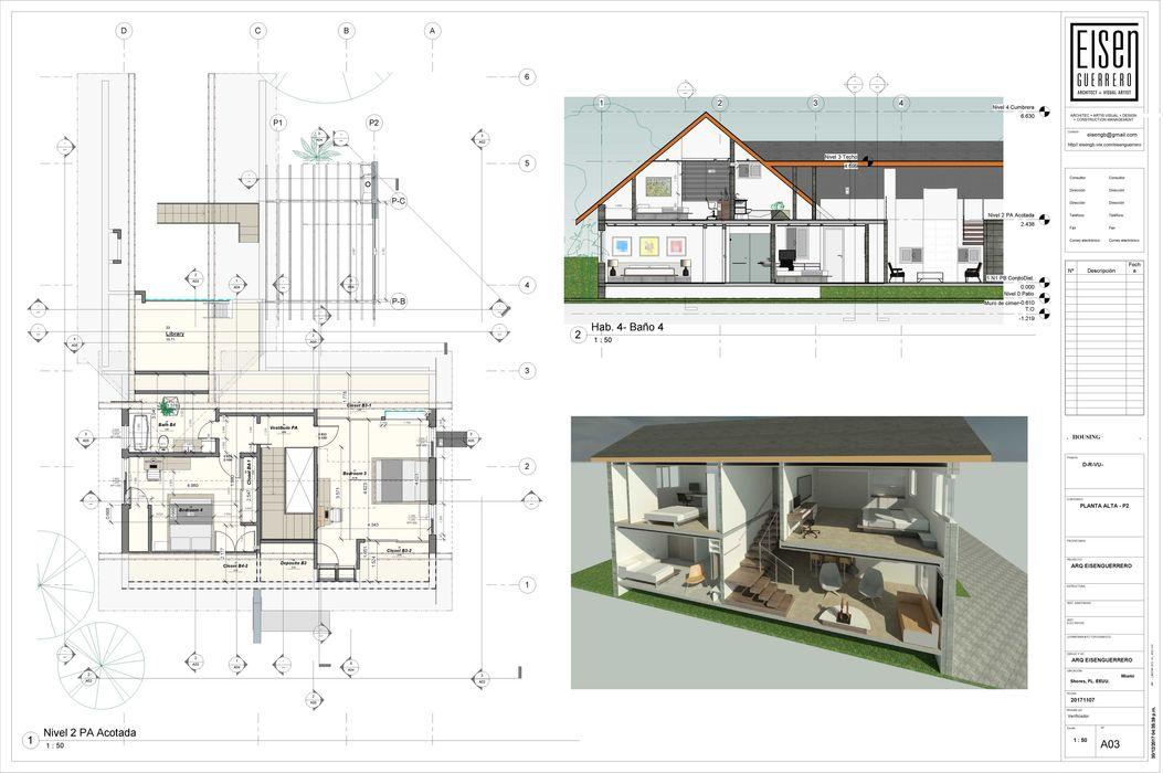Planta Alta, Corte y Corte en Perspectiva. EISEN Arquitectura + Construccion Casas de madera Madera Blanco