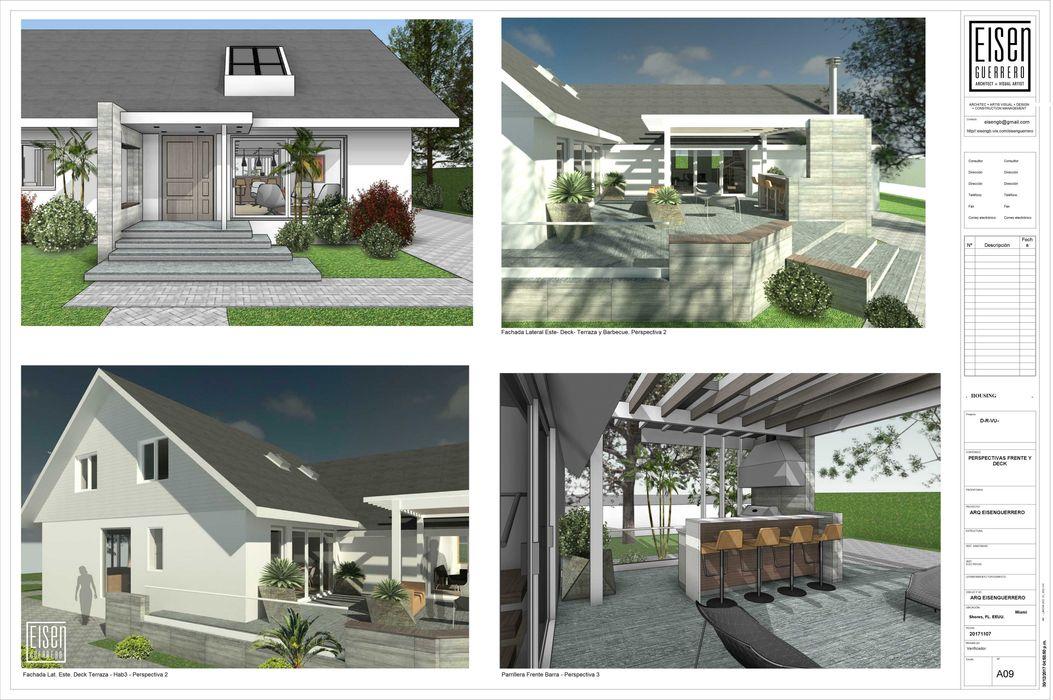 REMODELACIÓN DE VIVIENDA GMS. FL. Miami. USA. EISEN Arquitectura + Construccion Casas de madera Madera Blanco