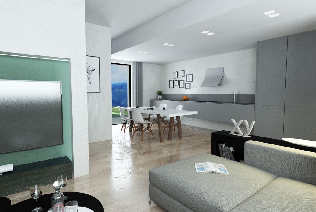 Villa a Schiera in Via Sandro Pertini Dicomano Studio Bennardi - Architettura & Design Soggiorno moderno