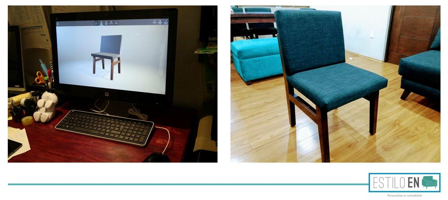 Render de las sillas para el comedor y silla fabricada Estilo en muebles Salones modernos Gris