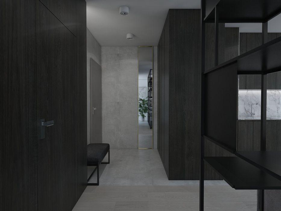 UTOO-Pracownia Architektury Wnętrz i Krajobrazu Modern corridor, hallway & stairs