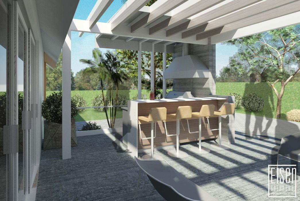 Parrillera Pergola y Deck. EISEN Arquitectura + Construccion Casas de madera Madera Blanco