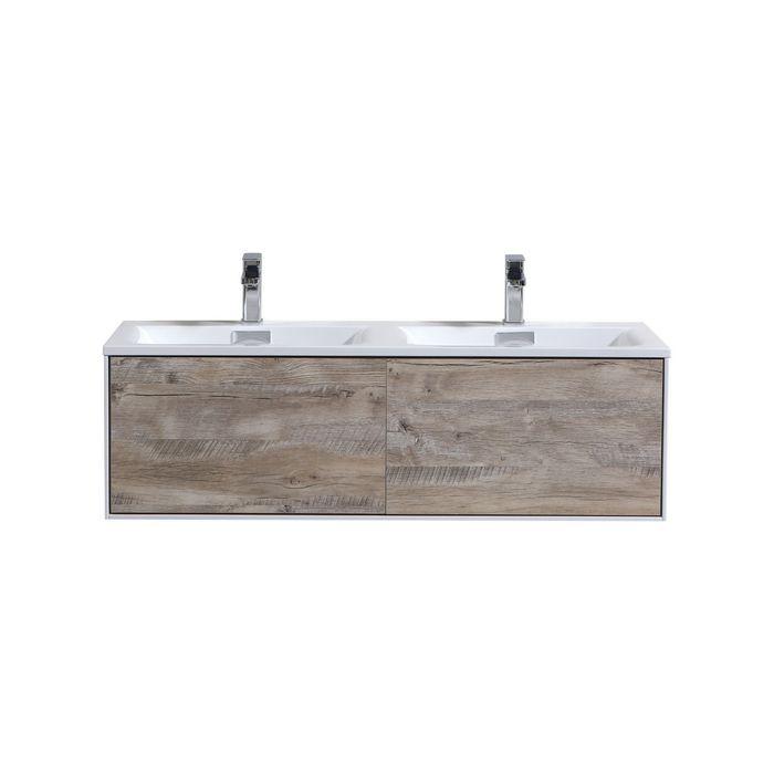 DIVARIO 48″ NATURE WOOD WALL MOUNT MODERN BATHROOM VANITY - SKU: D48DNW KubeBath BathroomStorage