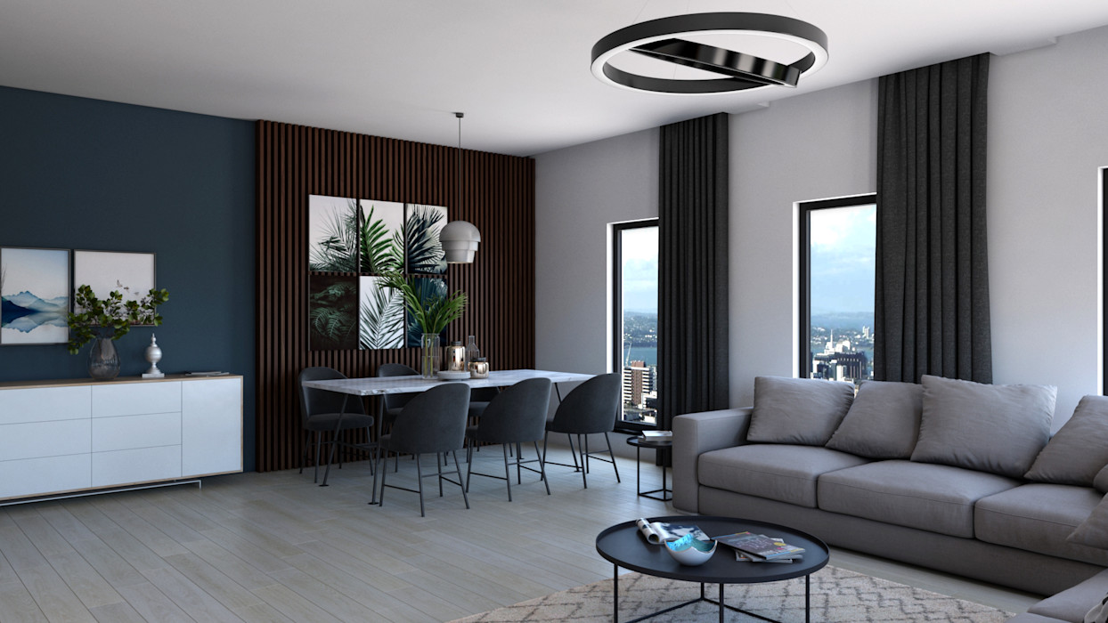 Salon - İç Mekan Görselleştirme Dündar Design - Mimari Görselleştirme Modern Oturma Odası