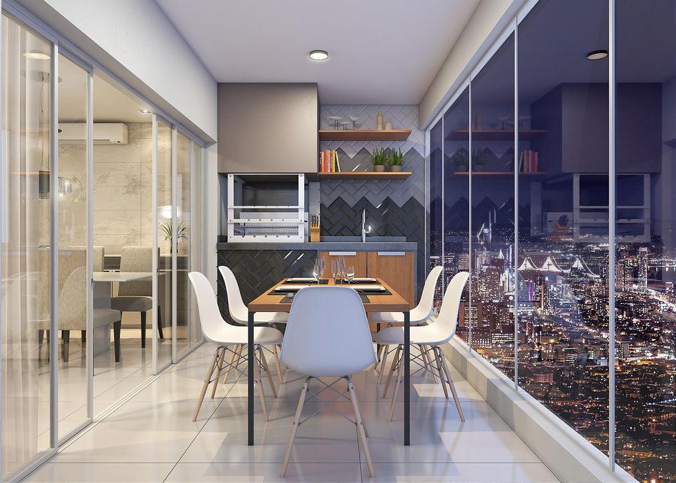 Varanda Gourmet Estúdio j2G  Arquitetura & Engenharia Varandas, alpendres e terraços modernos Cerâmica Cinza